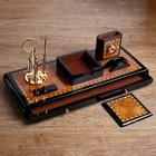 Набор настольный 7в1 (блок д/бумаг,часы с подстав,визитница, лого,нож-лупа-ручка) 20х49х22 см - фото 871219
