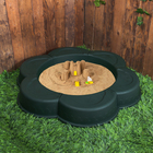 Песочница пластиковая «Ромашка», 120 х 24 х 120 см, тёмно-зелёная