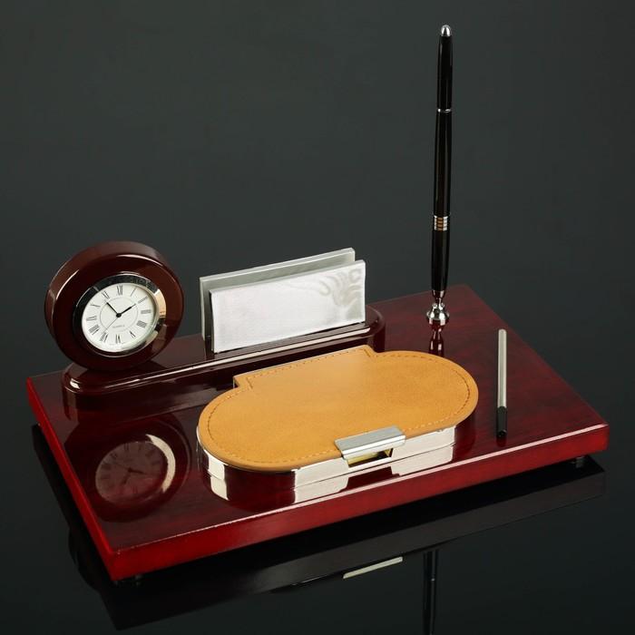 Набор настольный 4в1 (часы в круге, визитница, ручка, блок с бумагой) 30*20см, микс - фото 871226
