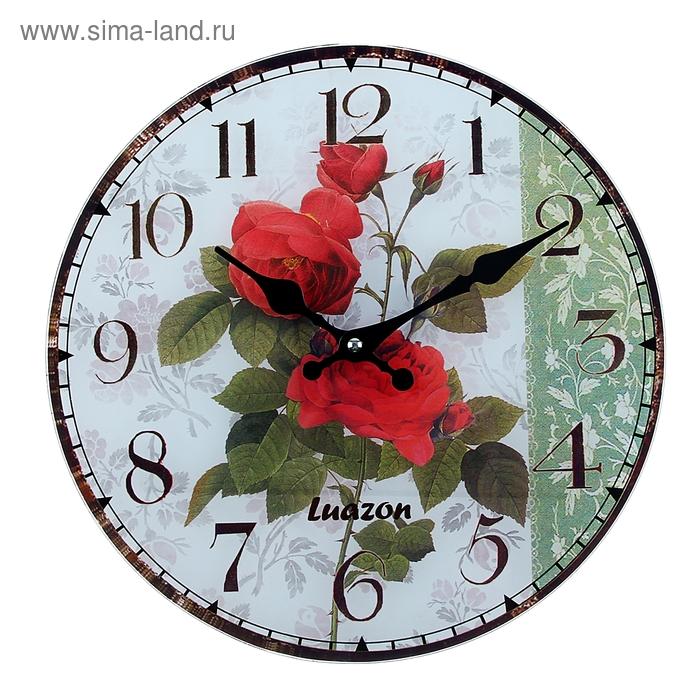 """Часы настенные из стекла """"Розы алые"""""""