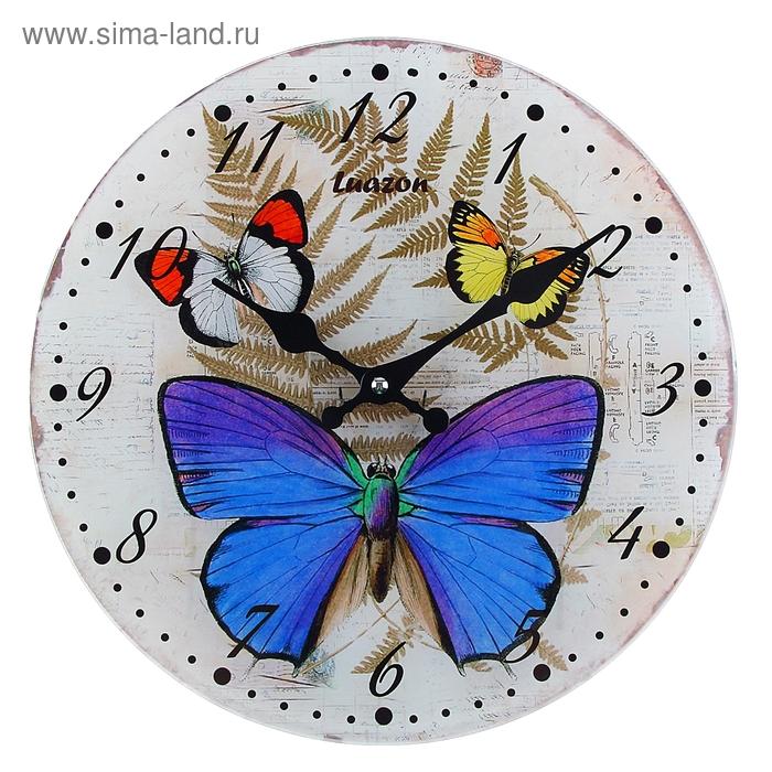 "Часы настенные из стекла ""Бабочки-красавицы"""