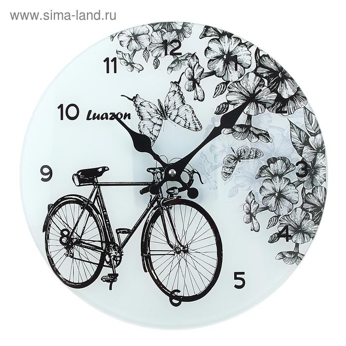 """Часы настенные из стекла """"Велосипед в саду"""""""