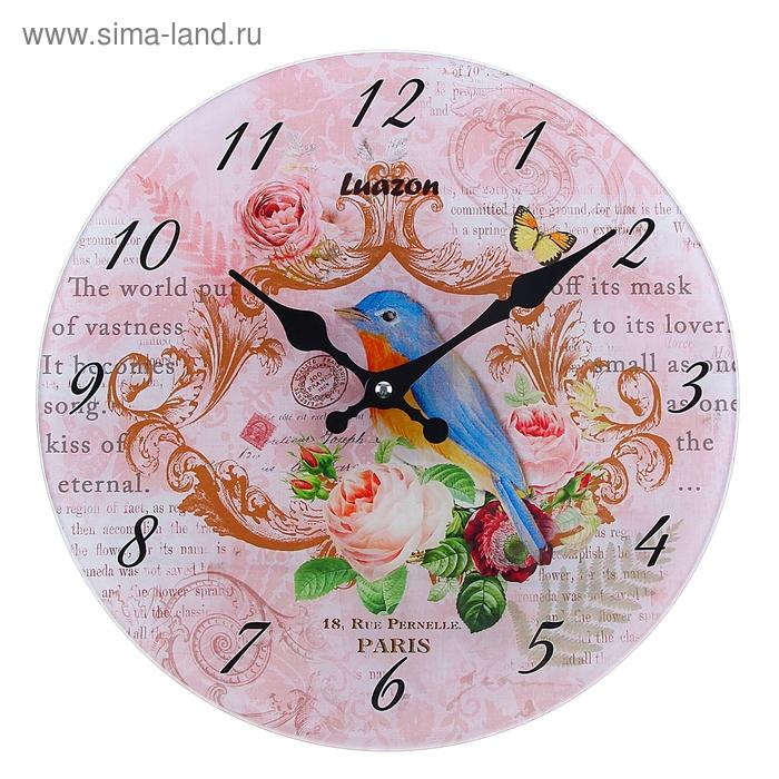 """Часы настенные из стекла """"Розы и птичка"""""""