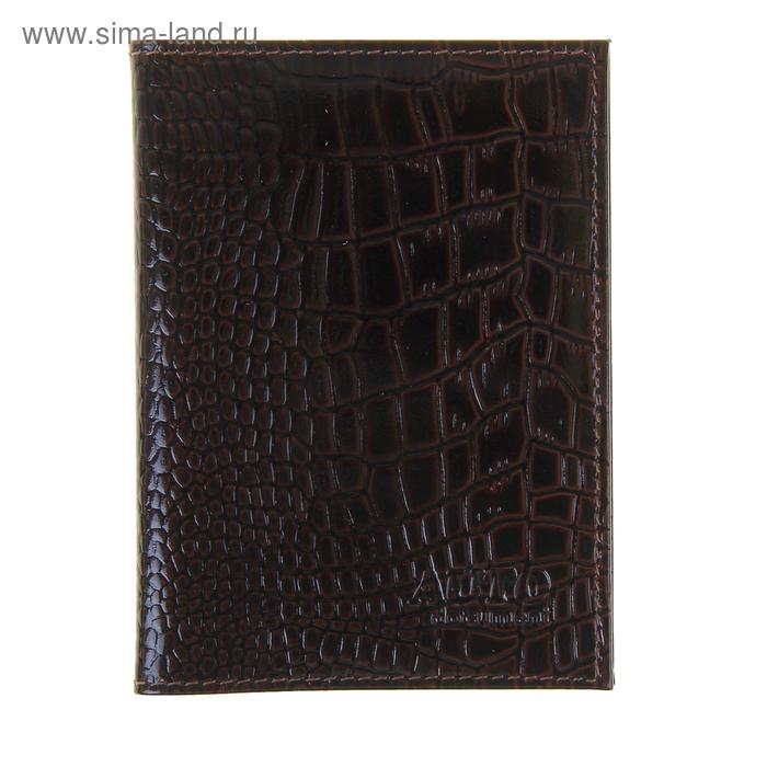 Обложка для автодокументов, коричневый крокодил