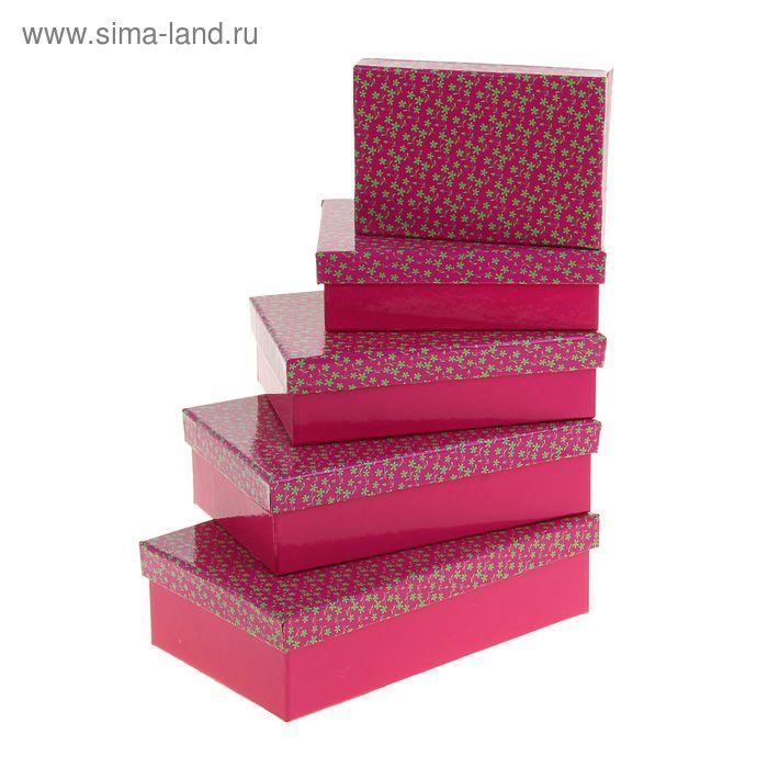 "Набор коробок 5в1 ""Россыпь цветов"", цвет малиновый, 20,5 х 13 х 6 - 13 х 9 х 4 см"