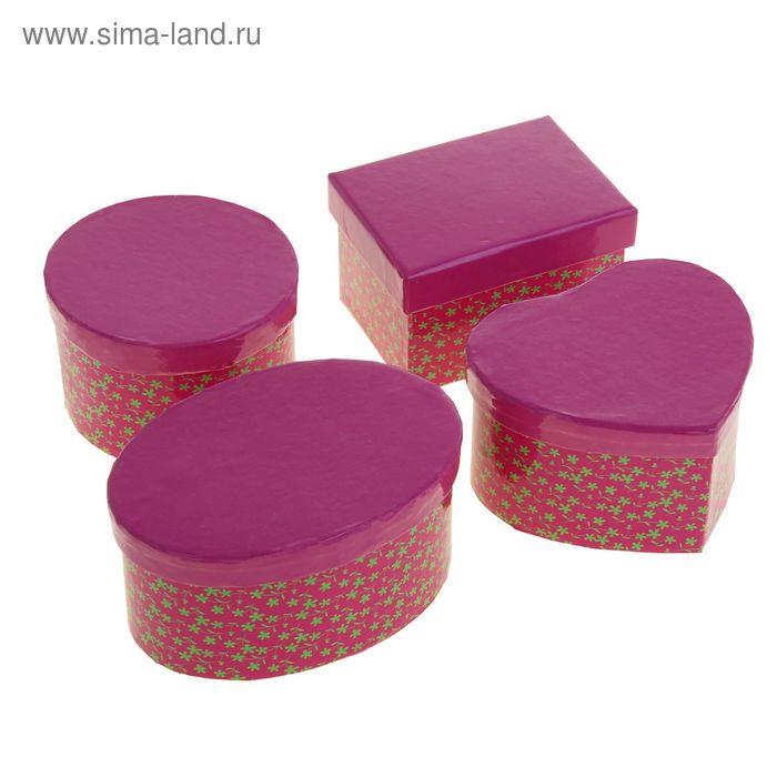 """Набор коробок 4в1 """"Россыпь цветов"""", цвет малиновый, форма ассорти"""