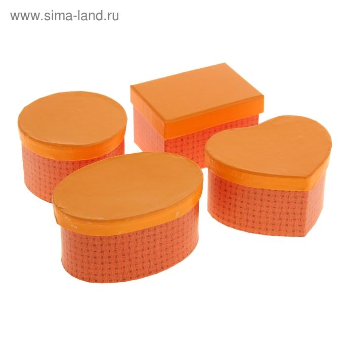 """Набор коробок 4в1 """"Плетёный узор"""", цвет оранжевый, форма ассорти"""