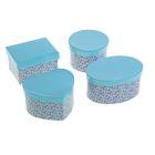 """Набор коробок 4в1 """"Россыпь цветов"""", цвет голубой, форма ассорти"""