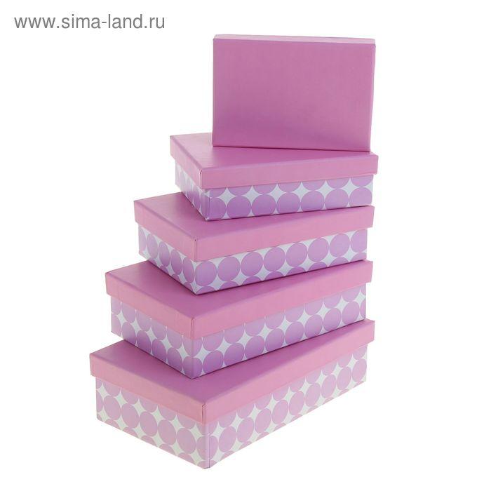 """Набор коробок 5в1 """"Крупный горох"""", цвет нежно-сиреневый"""