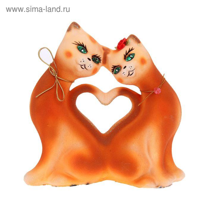 """Копилка """"Кошки"""" в форме сердца, малая, флок, рыжая"""