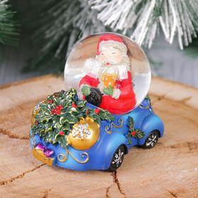 """Сувенир - снежный шар водяной """"Дед Мороз на машине"""""""