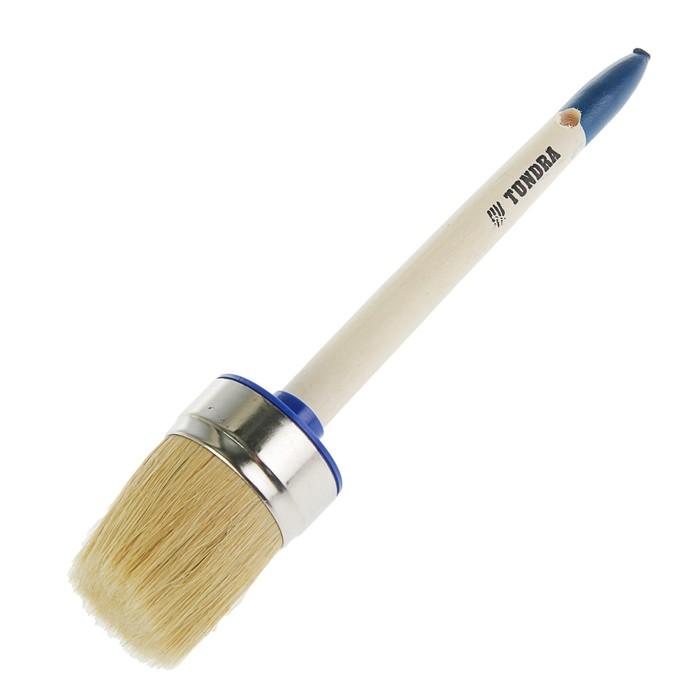 Кисть круглая TUNDRA comfort, натуральная щетина, деревянная ручка №14 (50 мм)