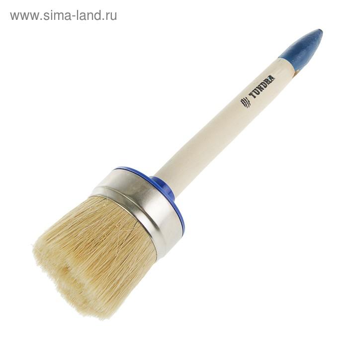 Кисть круглая TUNDRA comfort, натуральная щетина, деревянная ручка №18 (60 мм)