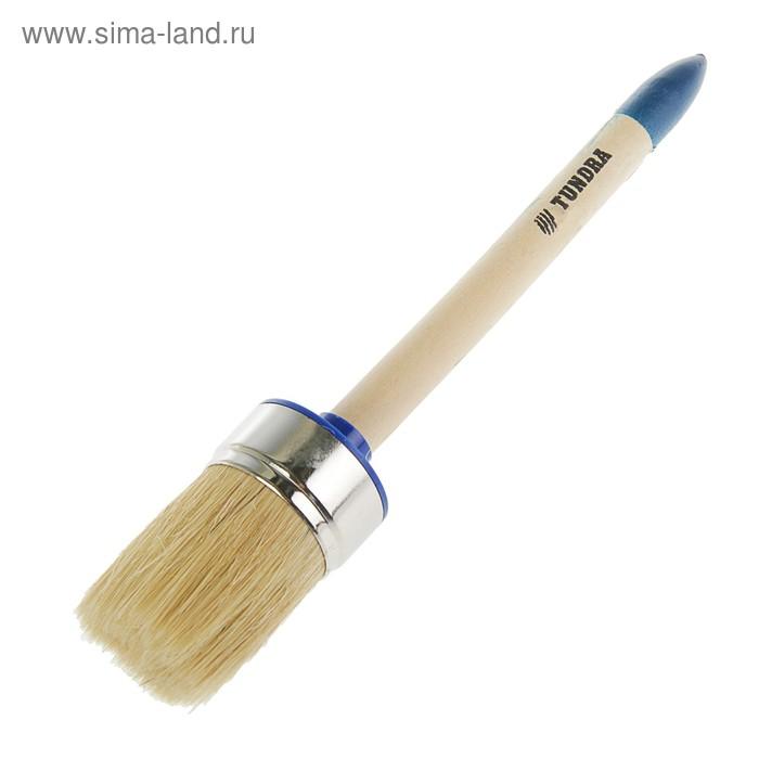 Кисть круглая TUNDRA comfort, натуральная щетина, деревянная ручка №12 (45 мм)
