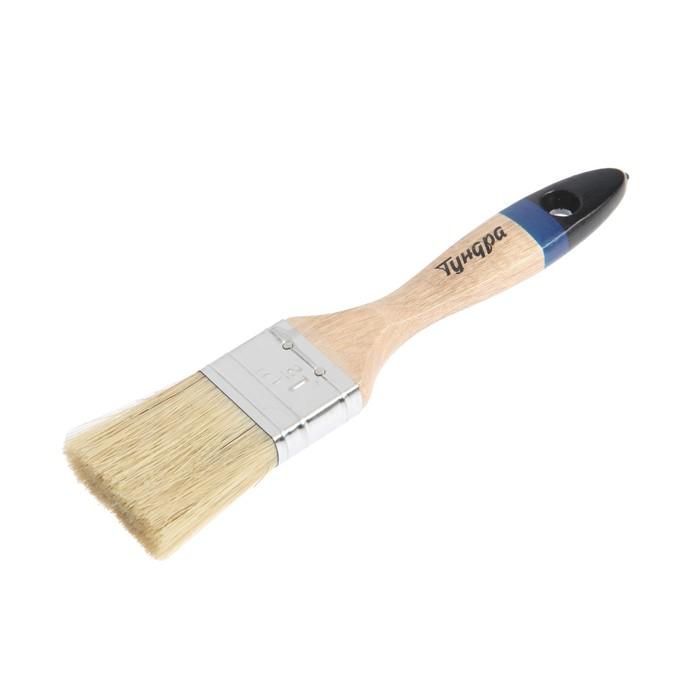 """Кисть плоская TUNDRA comfort, натуральная щетина, деревянная ручка 1,5"""" (38 мм)"""
