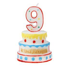 """Свеча-цифра в форме торта """"9"""""""