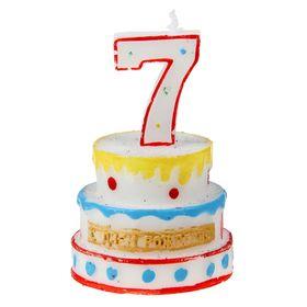 """Свеча-цифра в форме торта """"7"""""""