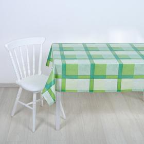 Клеёнка столовая на тканой основе «Клетка зелёная», 1,25×25 м