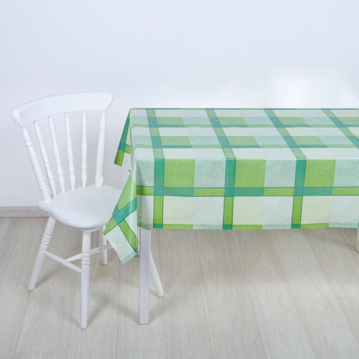 """Клеёнка столовая на ткани """"Клетка зелёная"""", 1,25 × 25 метров"""