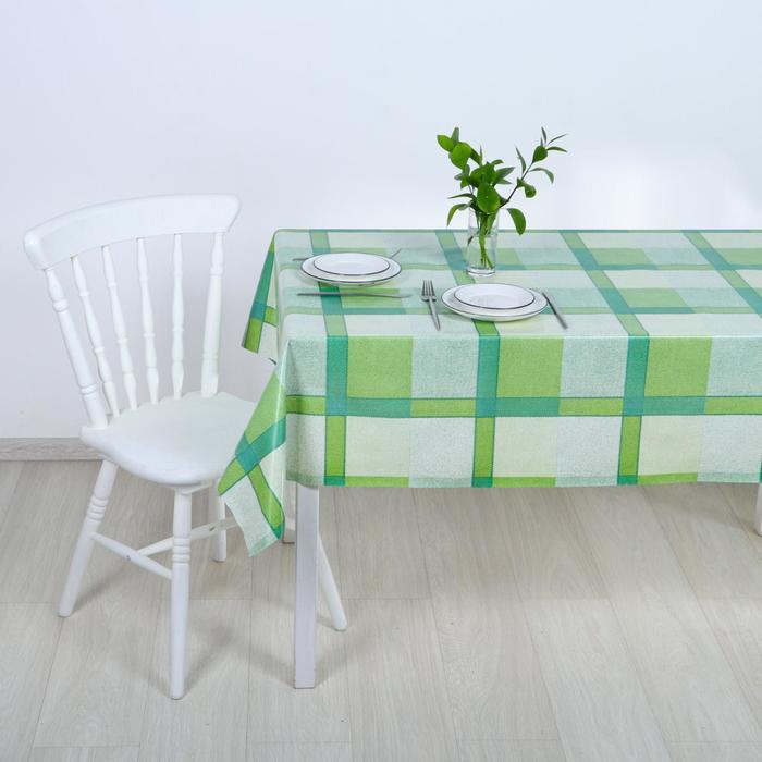 Клеёнка столовая на тканой основе «Клетка зелёная», 1,25×25 м - фото 883830