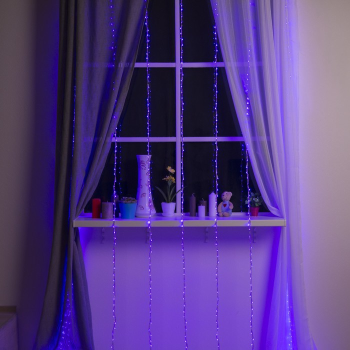 """Гирлянда """"Дождь"""" Ш:2 м, В:3 м, Н.С. LED-800-220V, контр. 8 р, ФИОЛЕТ"""