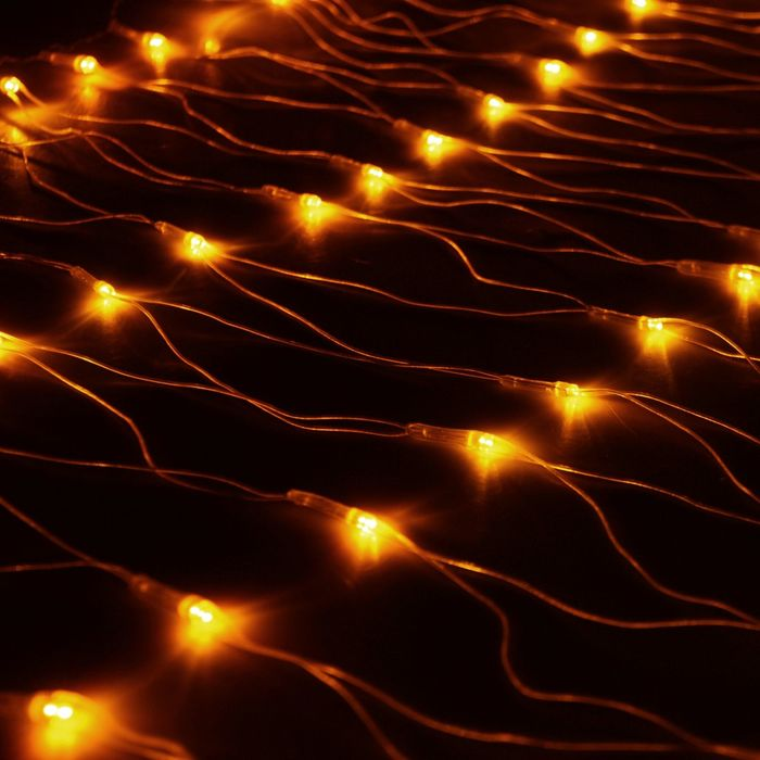 "Гирлянда ""Сетка"" Ш:1 м, В:0,7 м, Н.С. LED-96-220V, контр. 8 р, ЖЕЛТЫЙ"