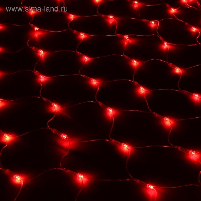 """""""Сетка"""" Ш:1 м, В:0,9 м, нить силикон, LED-120-220V, контр. 8 р, КРАСНЫЙ"""