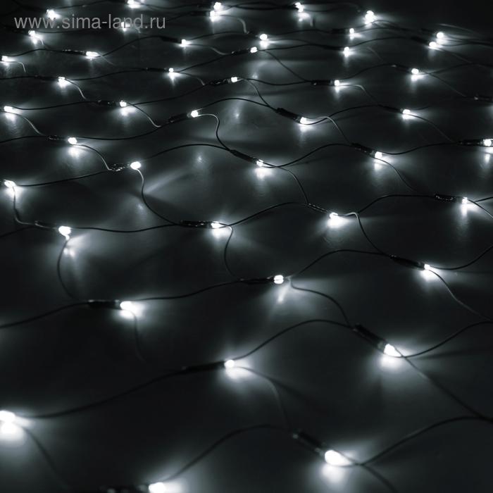 """""""Сетка"""" Ш:1 м, В:0,9 м, нить темная, LED-120-220V, контр. 8 р, БЕЛЫЙ"""