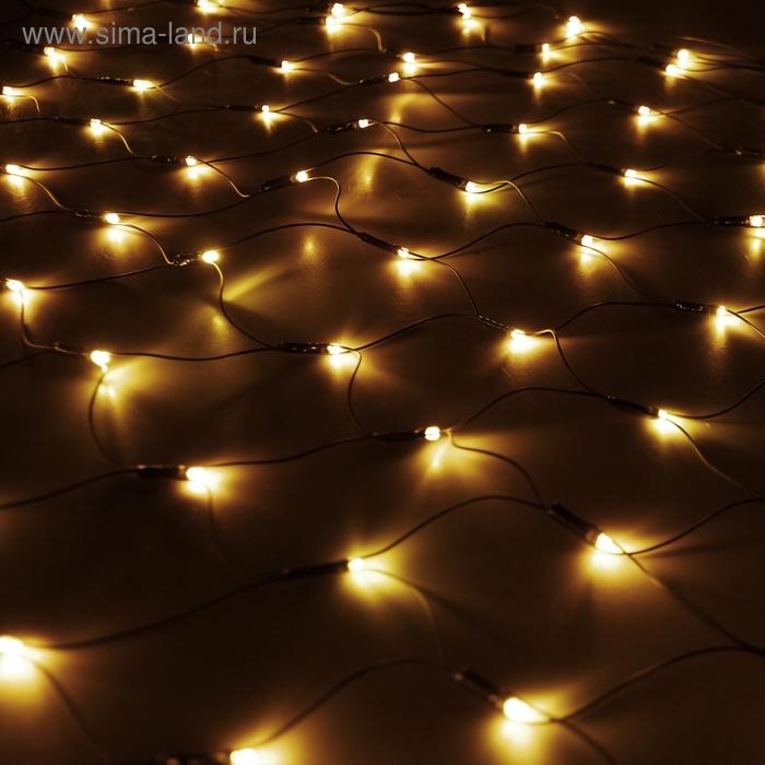 """""""Сетка"""" Ш:1 м, В:0,9 м, нить темная, LED-120-220V, контр. 8 р, ЖЕЛТЫЙ"""
