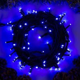 """Гирлянда """"Нить"""" 10 м , IP44, УМС, тёмная нить, 100 LED, свечение синее, 220 В"""
