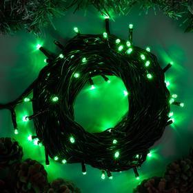 """Гирлянда """"Нить"""" 10 м , IP44, УМС, тёмная нить, 100 LED, свечение зелёное, 220 В"""