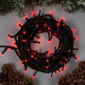 """Гирлянда """"Нить"""" 10 м , IP44, УМС, тёмная нить, 100 LED, свечение красное, 220 В"""