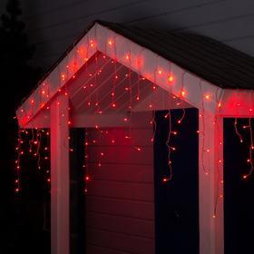 """Гирлянда """"Бахрома"""" 4 х 0.6 м , IP44, прозрачная нить, 180 LED, свечение красное, 8 режимов, 220 В"""