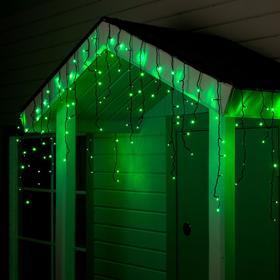 """Гирлянда """"Бахрома"""" 4 х 0.6 м , IP44, тёмная нить, 180 LED, свечение зелёное, 8 режимов, 220 В"""