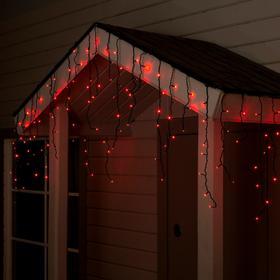 """Гирлянда """"Бахрома"""" 4 х 0.6 м , IP44, тёмная нить, 180 LED, свечение красное, 8 режимов, 220 В"""