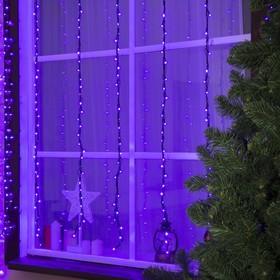 """Гирлянда """"Водопад"""" 2 х 1.5 м , IP44, тёмная нить, 400 LED, свечение фиолетовое, 8 режимов, 220 В"""