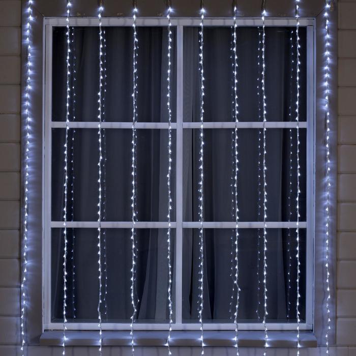 """Гирлянда """"Водопад"""" 2 х 3 м , IP44, УМС, прозрачная нить, 800 LED, свечение белое, 8 режимов, 220 В - фото 1545072"""