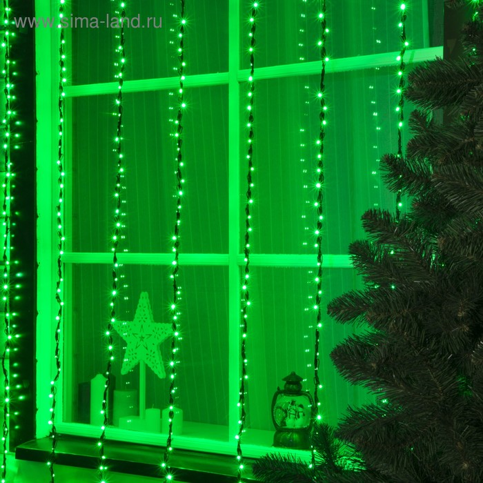 """Гирлянда """"Дождь"""" улич. УМС, Ш:2 м, В:3 м, нить темная, LED-800-220V, БЕЗ контр. ЗЕЛЕНЫЙ"""