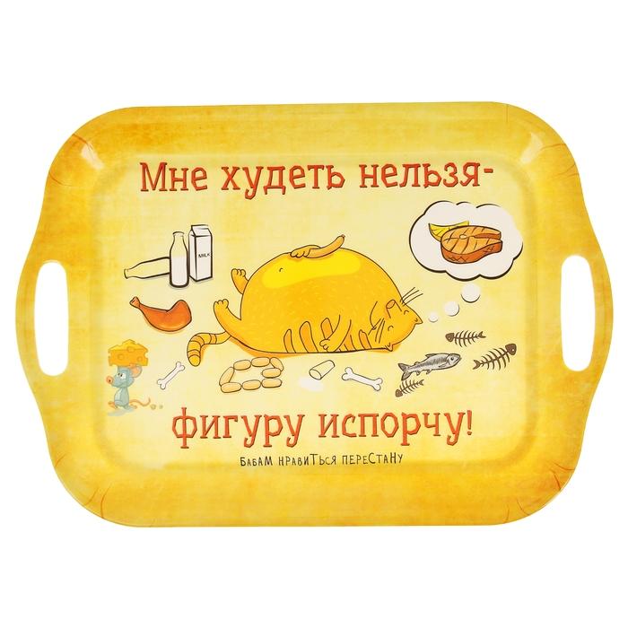 """Поднос серия Кот Антрекот """"Мне худеть нельзя - фигуру испорчу"""""""