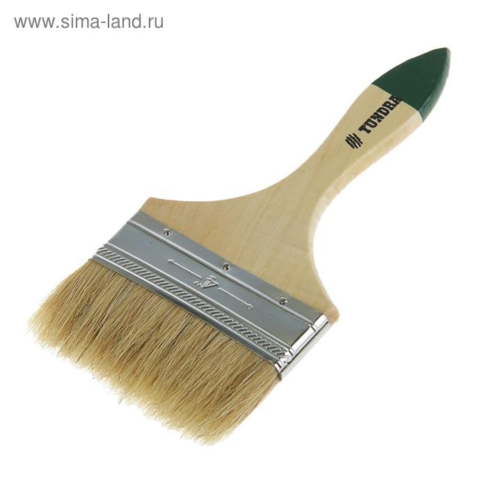 """Кисть плоская TUNDRA basic, натуральная щетина, деревянная ручка 4"""" (100 мм)"""