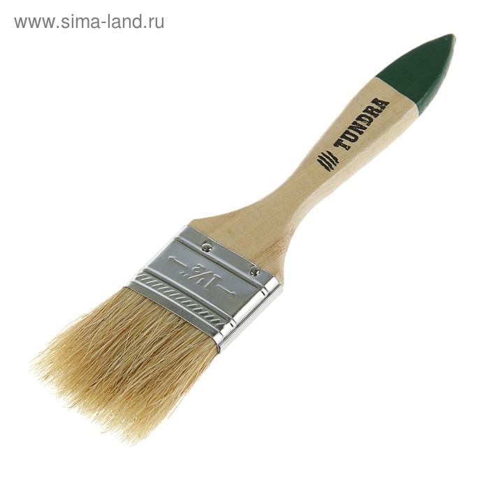 """Кисть плоская TUNDRA basic, натуральная щетина, деревянная ручка 1,5"""" (38 мм)"""