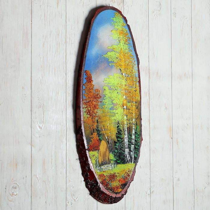 """Панно на спиле """"Осень"""", 60 см, каменная крошка, вертикальное"""