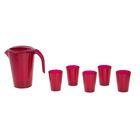 Набор для напитков Fresh, 6 предметов: стаканы 250 мл, кувшин 1,8 л, цвет гранат