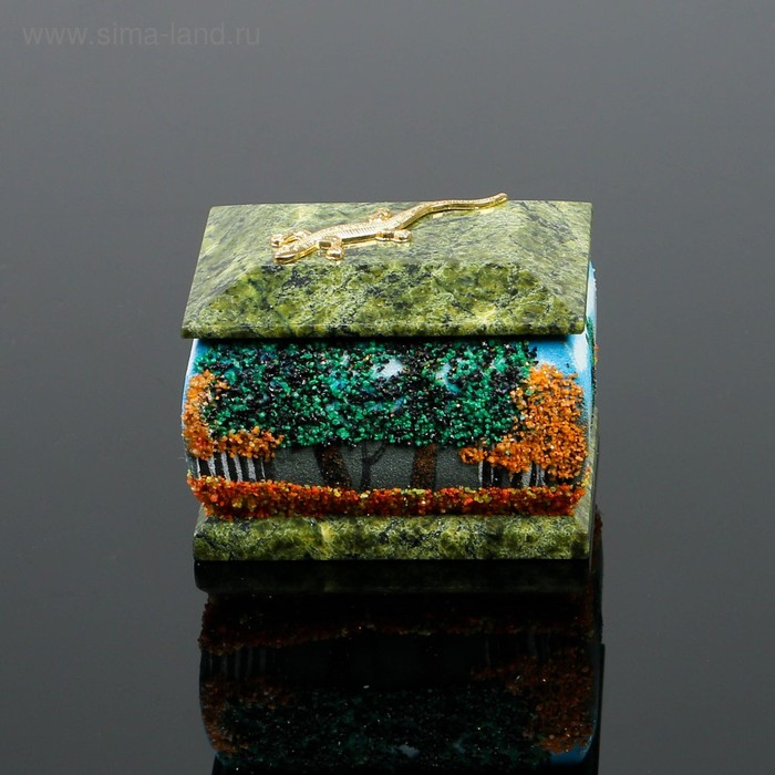 """Шкатулка """"Осень"""" рисованная с ящеркой 6х8 см 122216 серпент змеевик"""