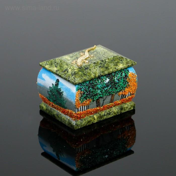 """Шкатулка """"Осень"""", с ящеркой, 6х8 см, каменная крошка, серпент"""