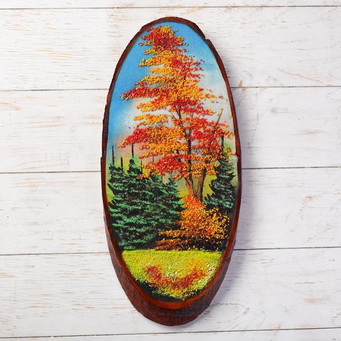 """Панно на спиле """"Осень"""", 45 см, каменная крошка, вертикальное"""