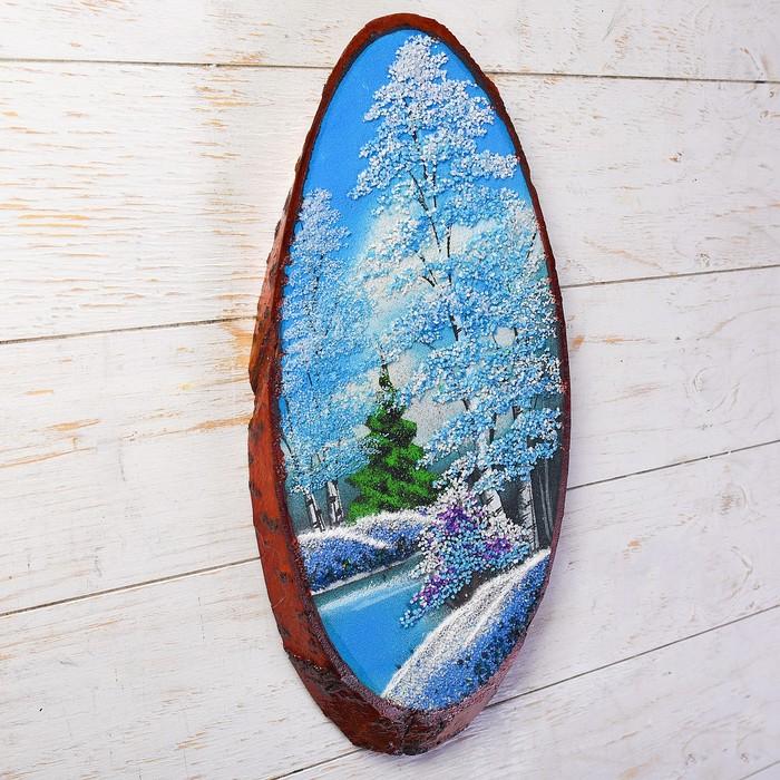 """Панно на спиле """"Зима"""", 40 см, каменная крошка, вертикальное"""
