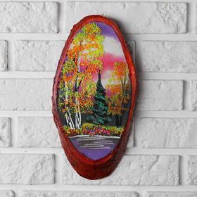 """Панно на спиле """"Осень"""", 30 см, каменная крошка, вертикальное, микс"""