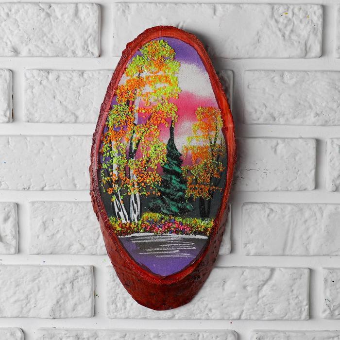 "Картина ""Осень""  в форме среза дерева 30х16х2 см 101401 каменная крошка"