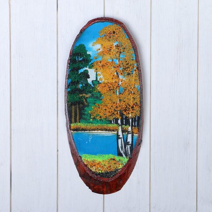 """Панно на спиле """"Осень"""", 35 см, каменная крошка, вертикальное"""